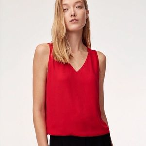 Babaton Murphy Blouse Red Tank V Neck Top